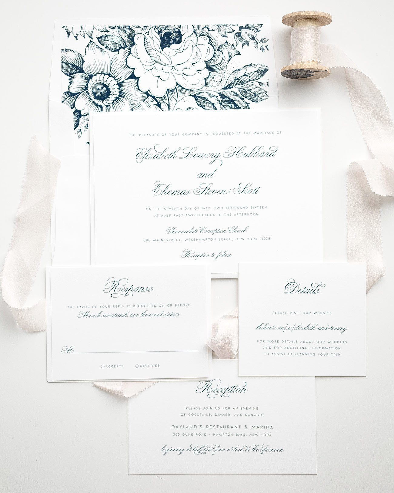 Classic Navy Wedding Invitations with Calligraphy and a Floral Garden Rose Envelope Liner