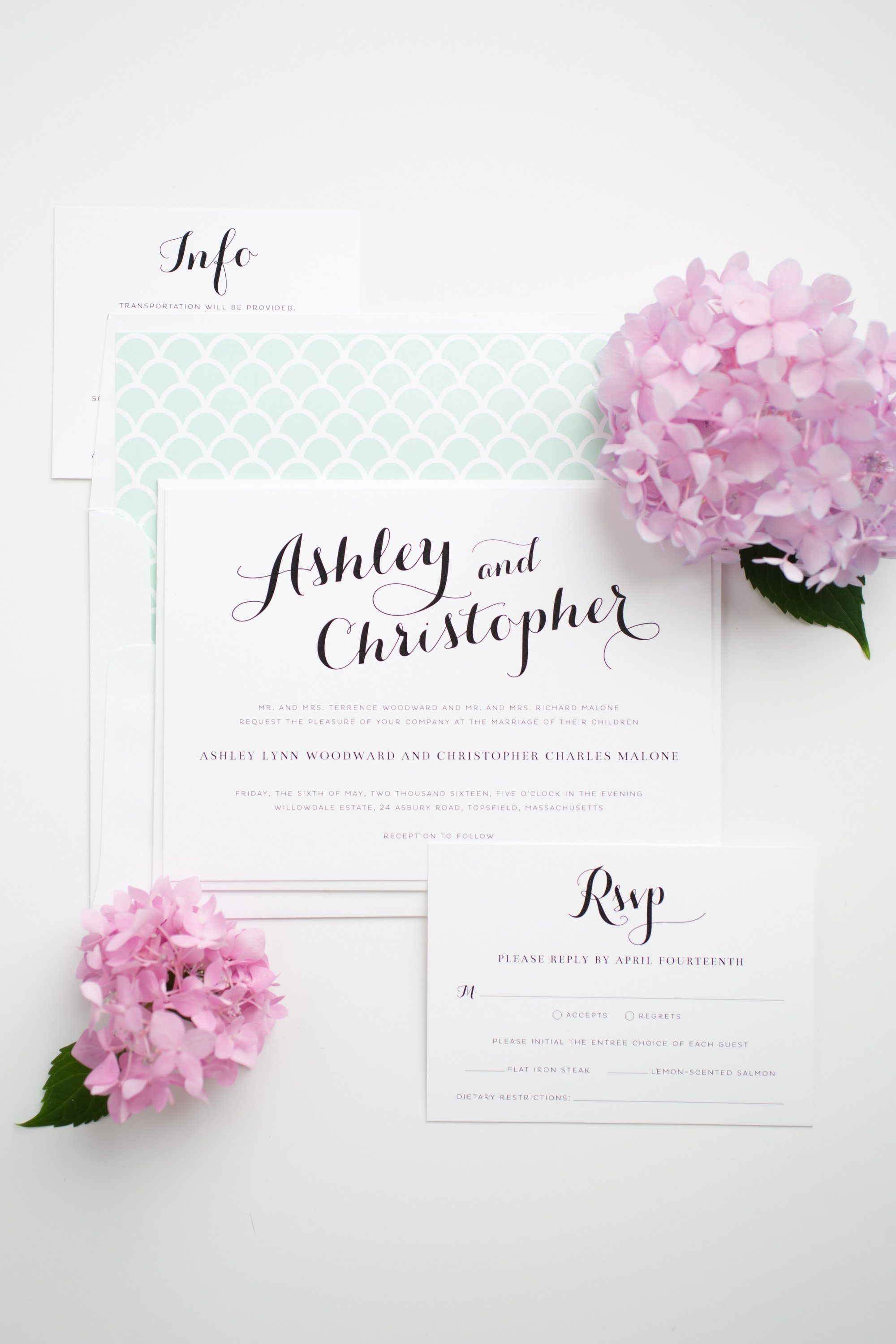 Romantic and Whimsical Mint Scallop Wedding Invitations