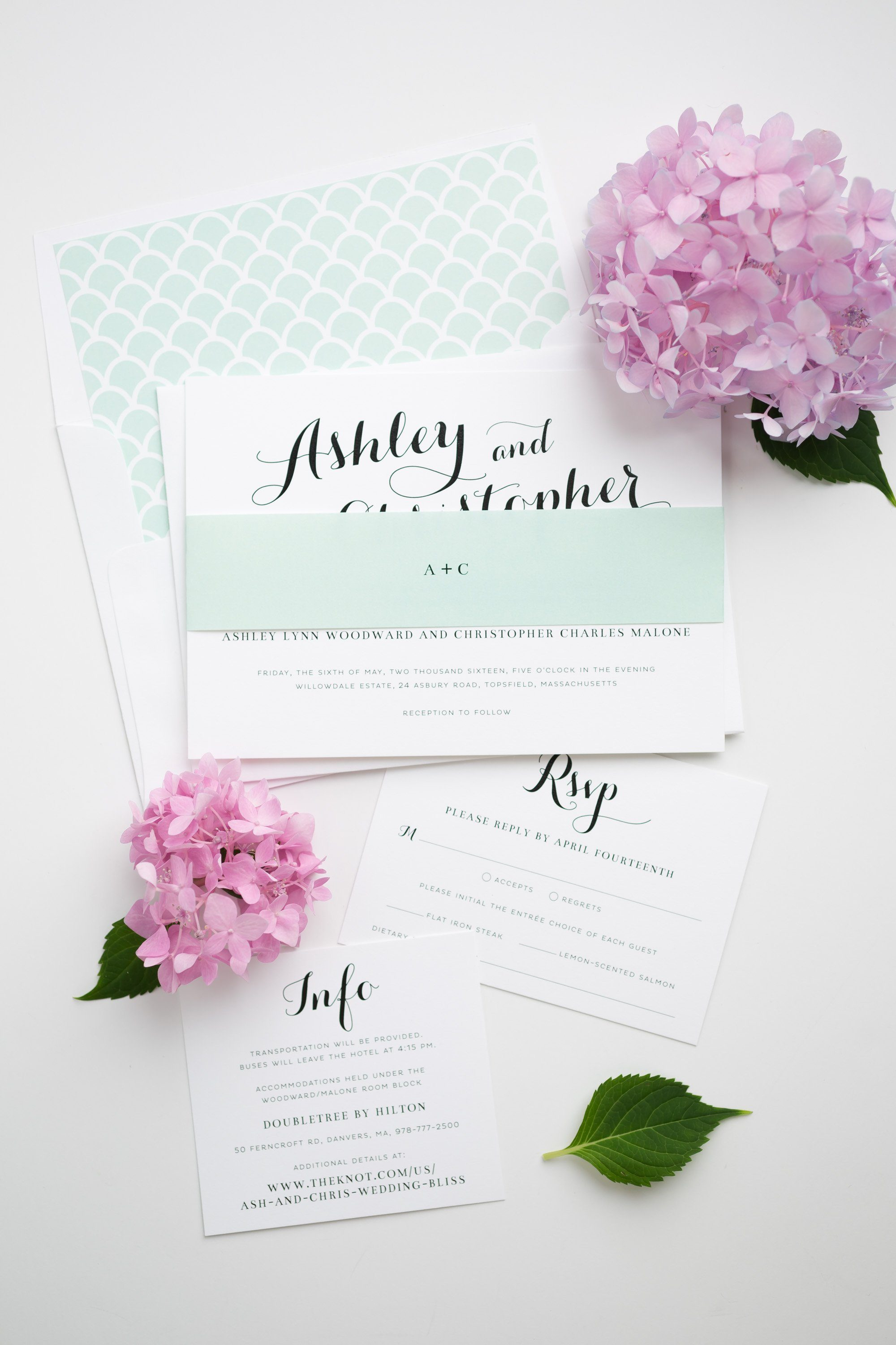Mint Calligraphy Wedding Invitations