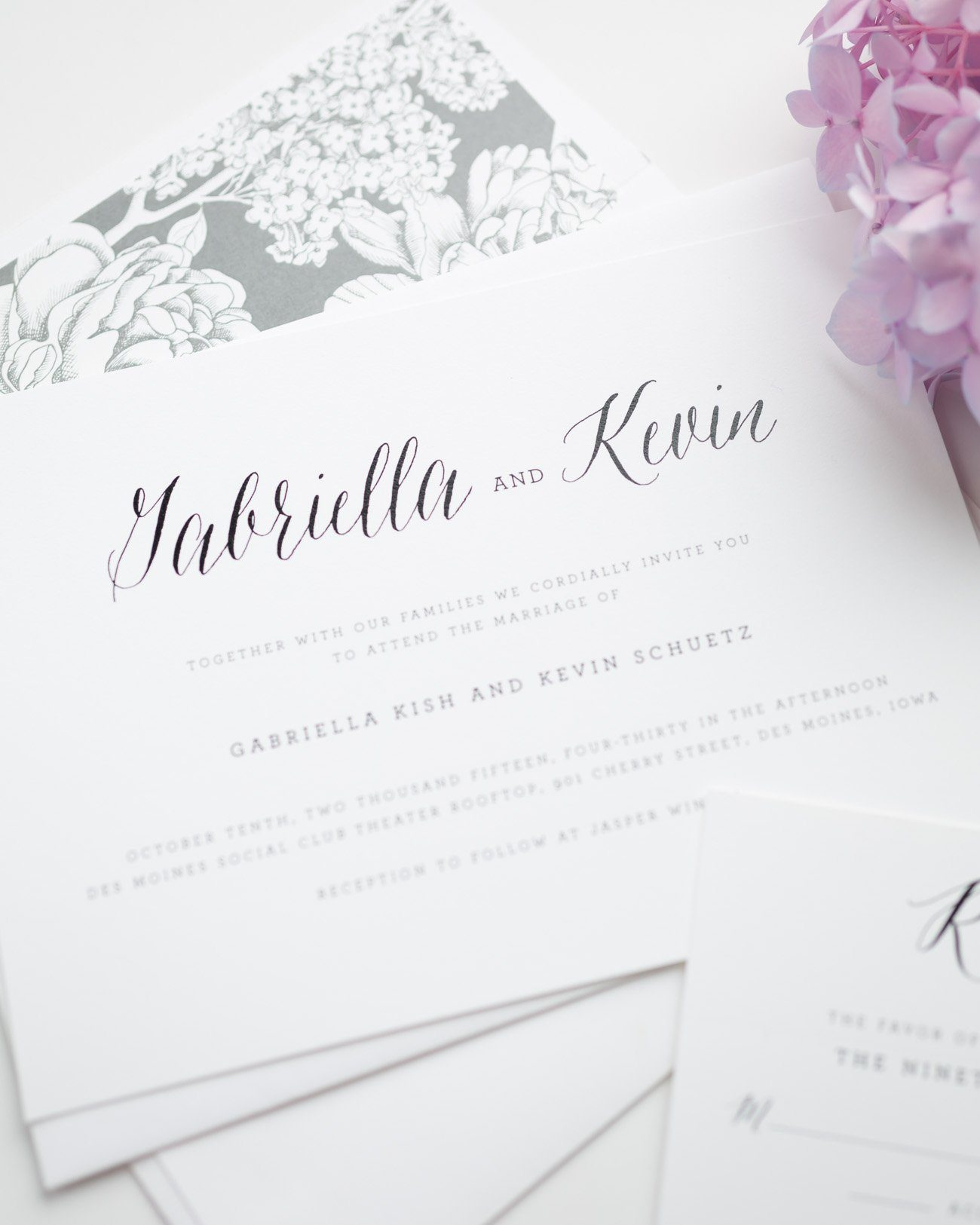 Rustic and Elegant Wedding Invitations in Gray