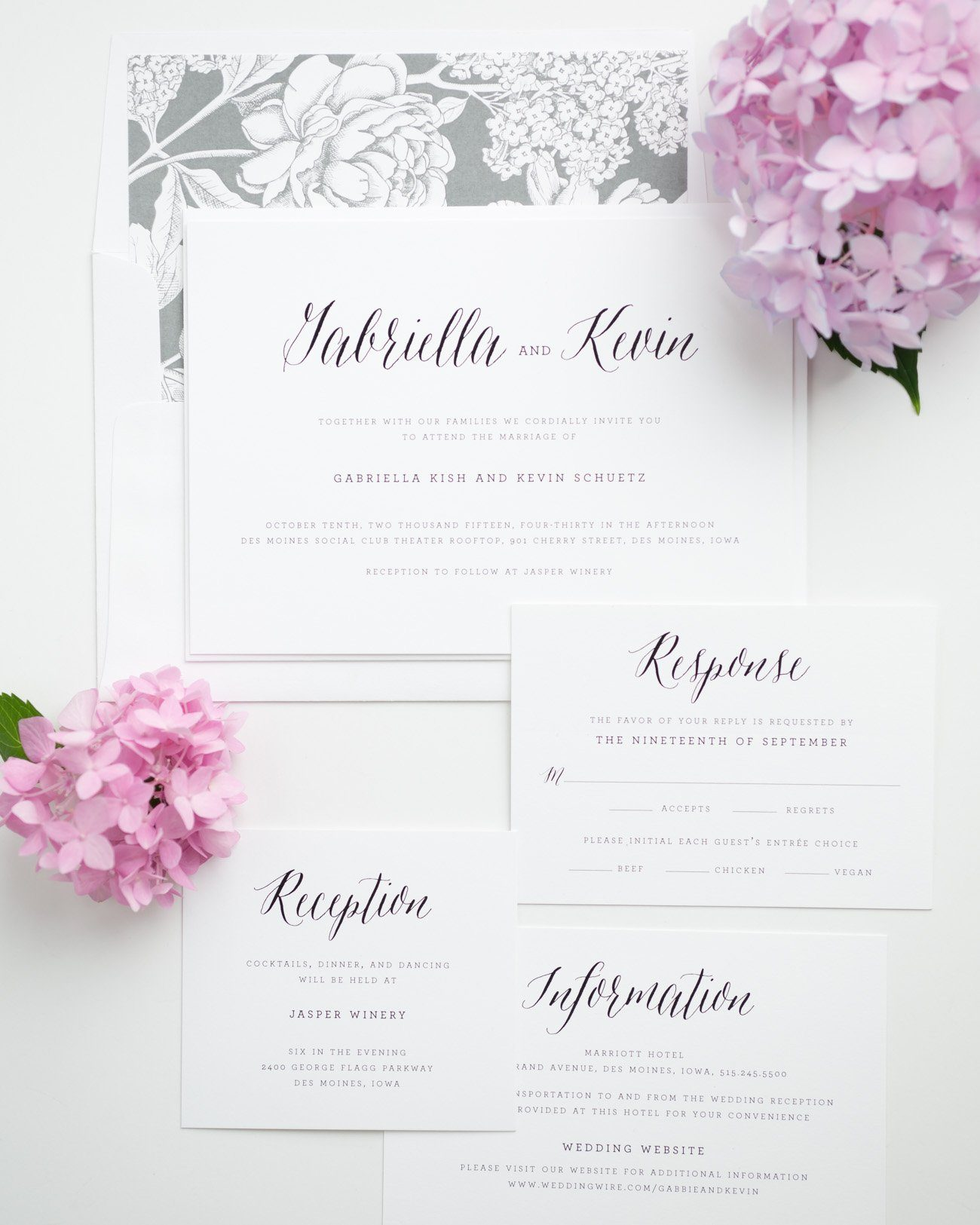 Rustic and Romantic Gray Invitations with a Floral Envelope Liner