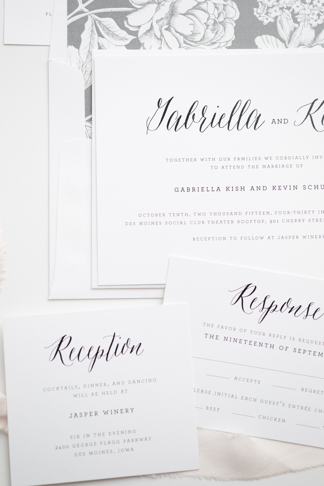 Rustic Calligraphy Wedding Invitations with a Classic feel and a Gray Floral Pattern