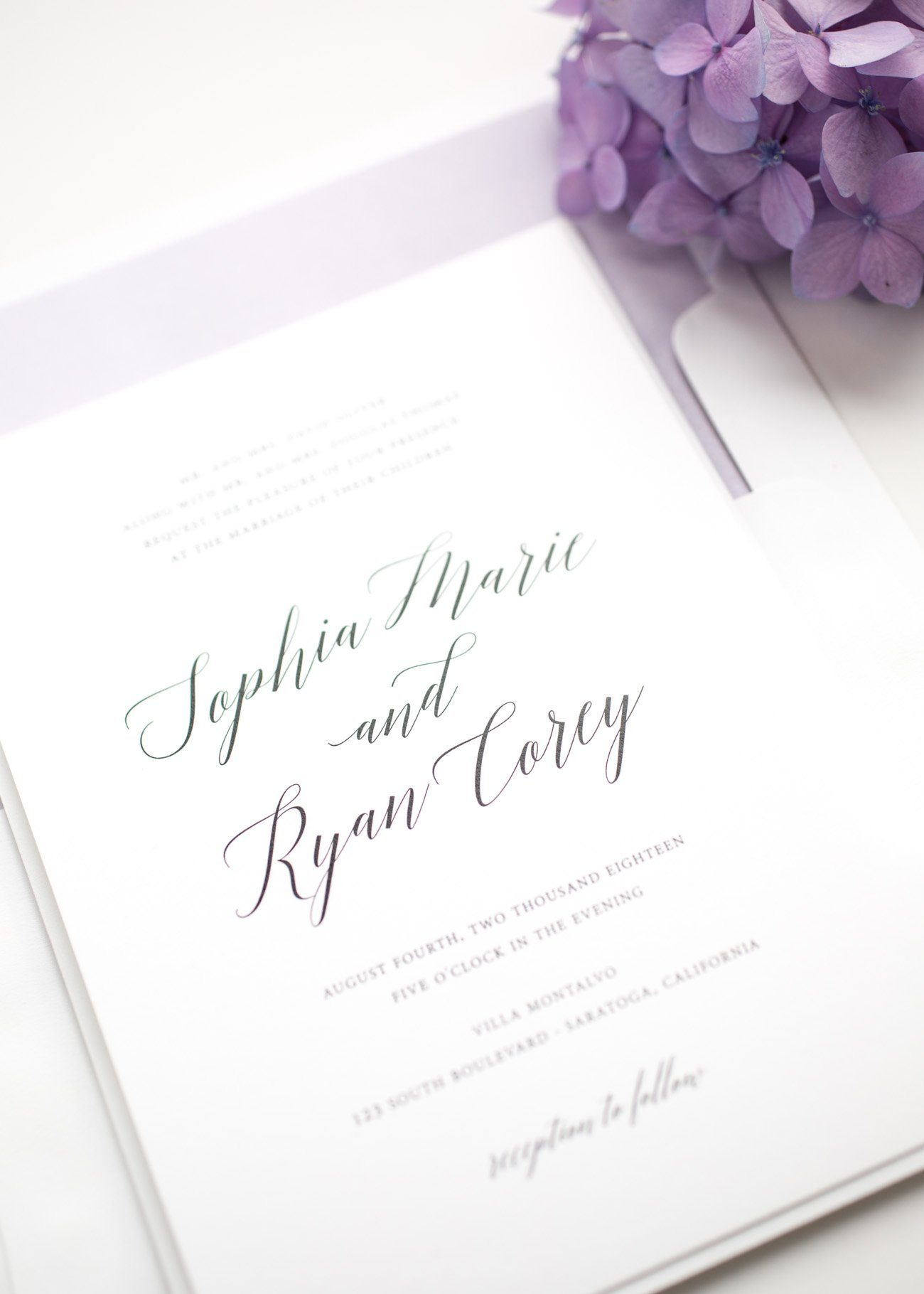 Garden Wedding Invitations in Lavender Purple