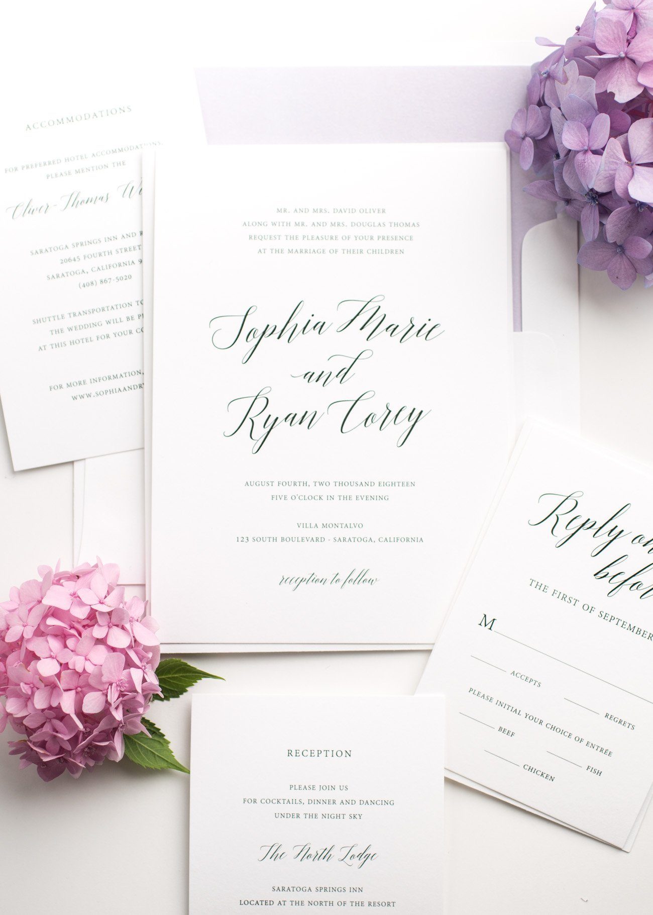 Calligraphy Wedding Invitations with a watercolor liner in lavender