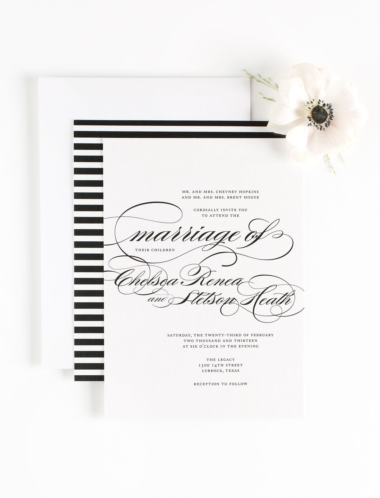 Moody Black and White Calligraphy Wedding Invitations