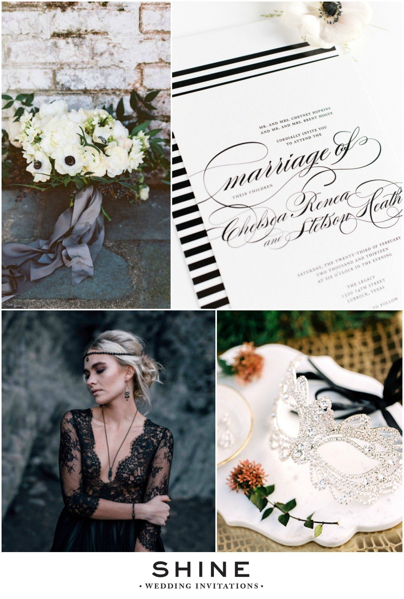 Moody Black and White Wedding Inspiration
