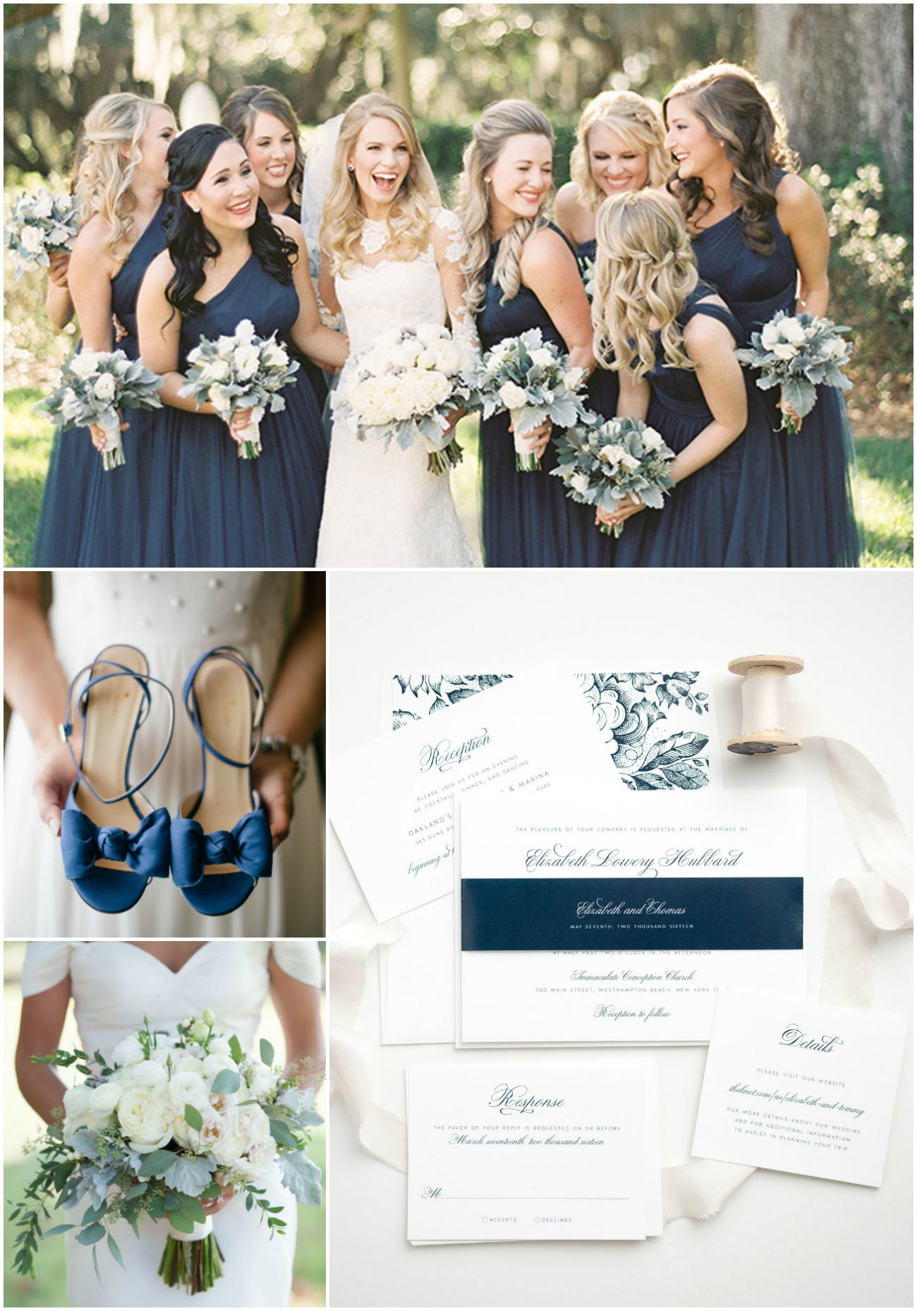 Navy Wedding Inspiration with Navy Bridesmaid Dresses, Navy Heels and Navy Wedding Invitations