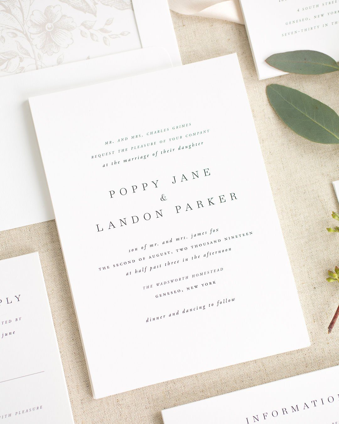 Classic Wedding Invitations with a Floral Envelope Liner in Mocha and Greenery