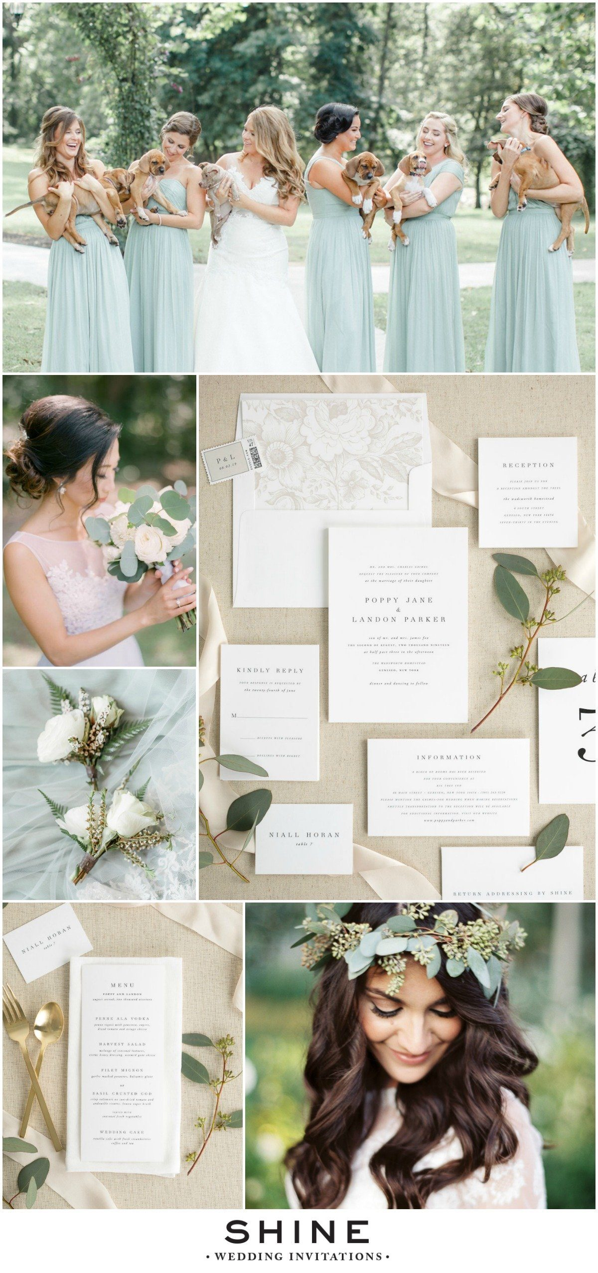 Classic Wedding Invitations with Soft Greenery and a Puppy Bouquet