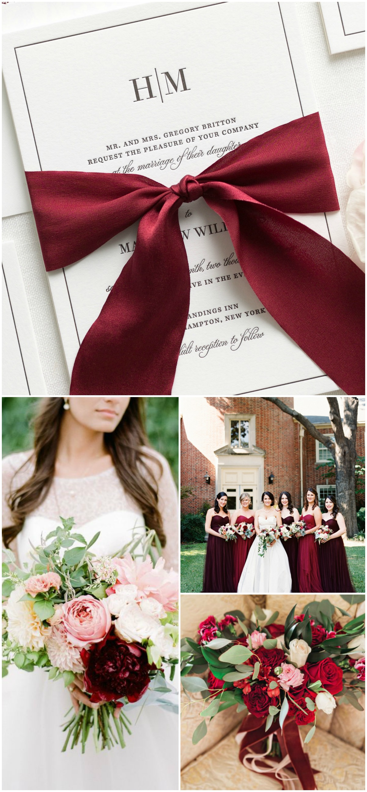 Letterpress Wedding Invitations with a Custom Dyed 100% Silk Ribbon in Wine Burgundy