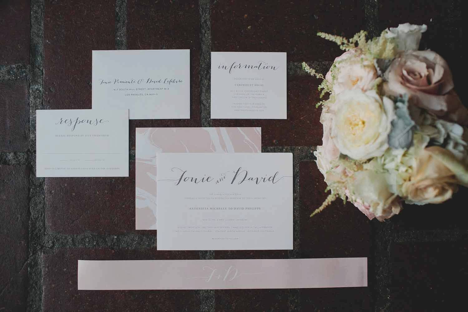 Rose Gold and Earth Calligraphy Wedding Invitations with a Marble Liner