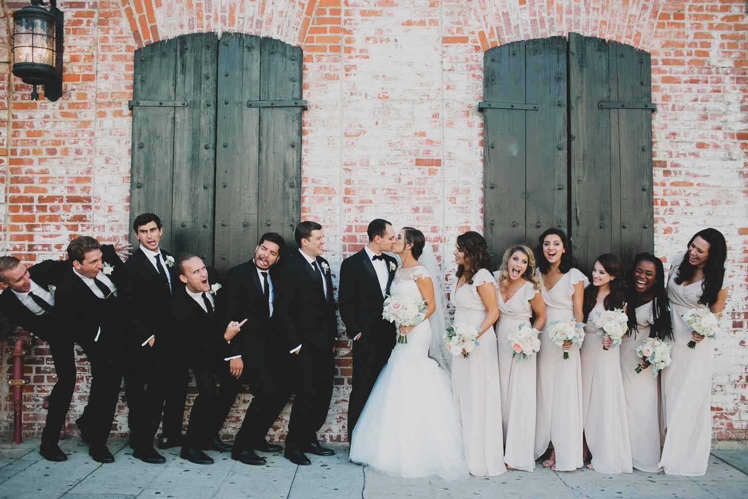 Classic and Sophisticated Bridal Party Brick Wall