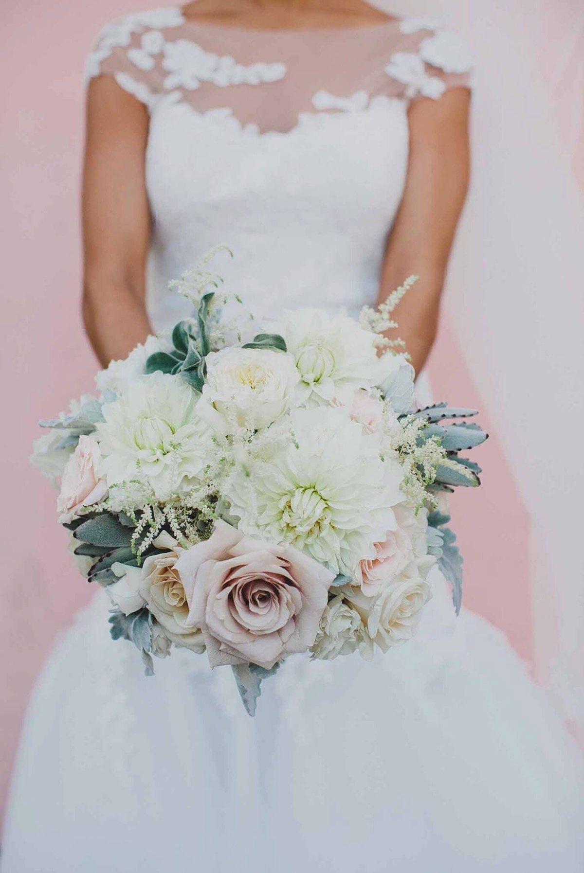 Blush and White Bouquet with Roses and Dahlias