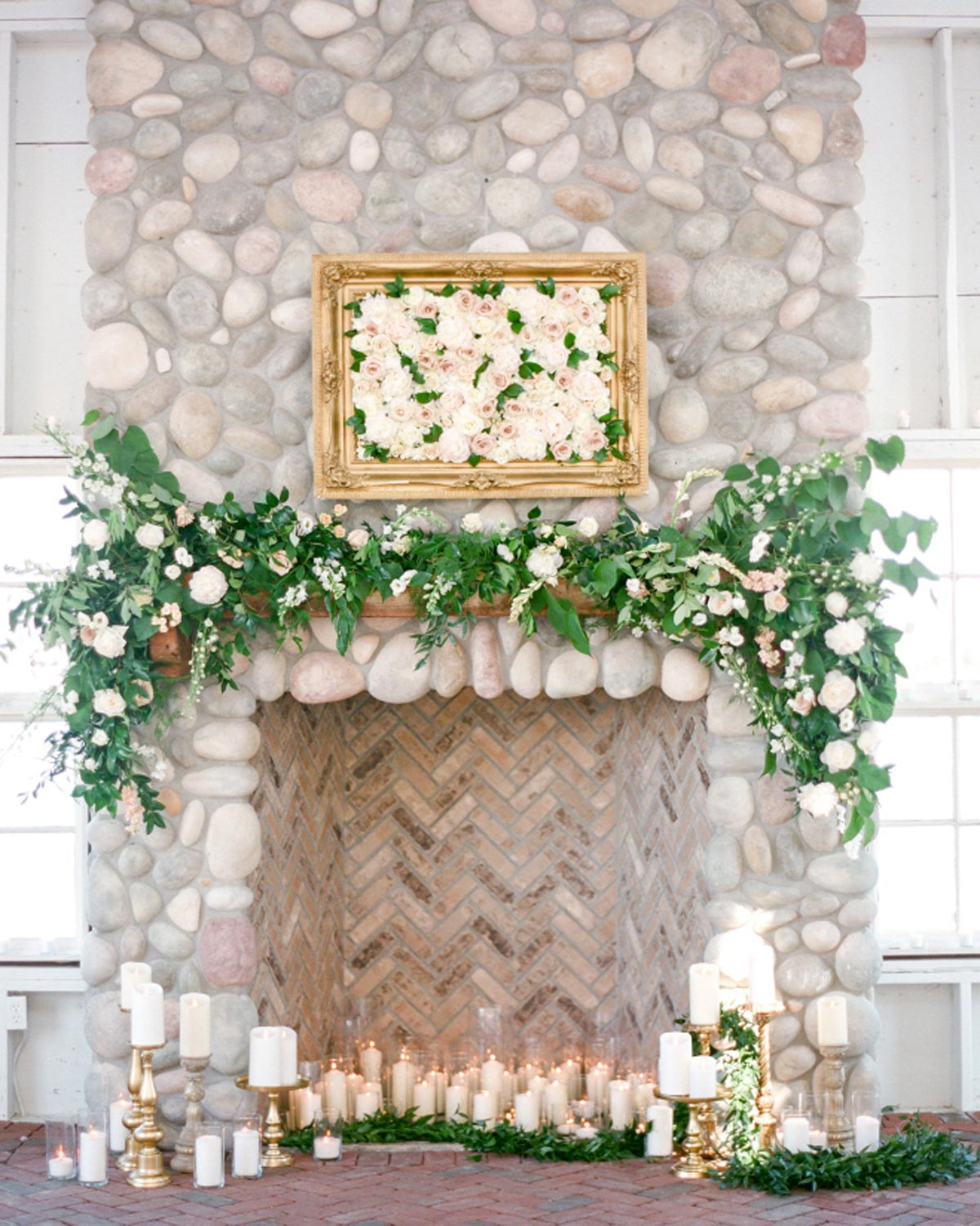 Greenery Wedding Inspiration Ceremony Mantel