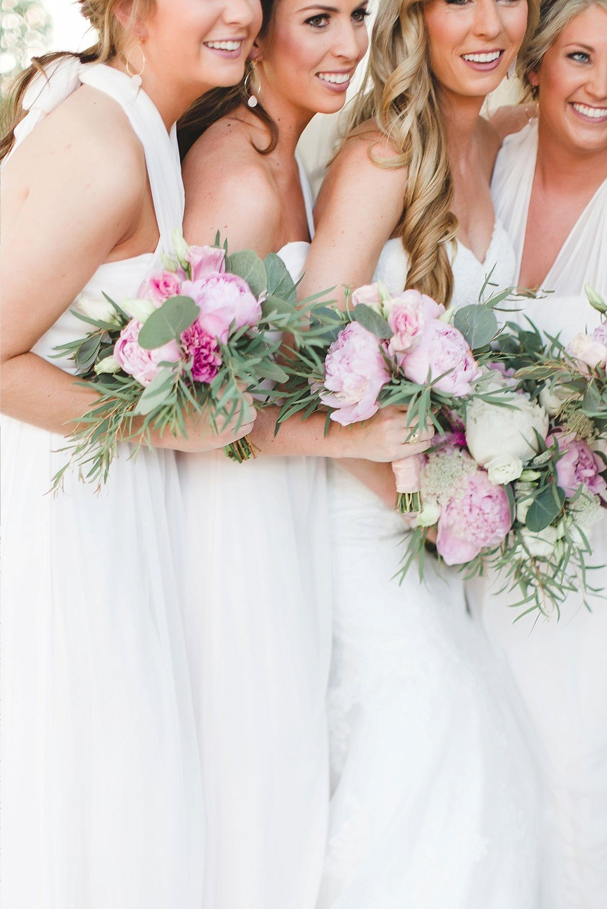 Bridesmaids with Peony Floral Bouquets