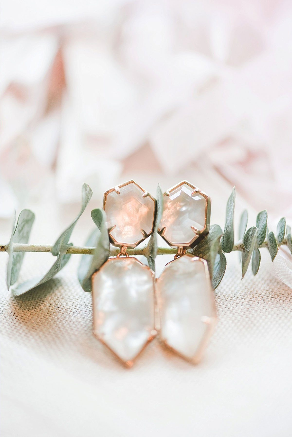 Bride's Geometric Earrings in Blush and Rose Gold