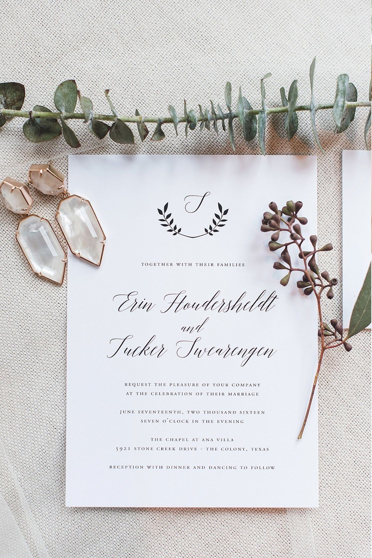 Simple and Classic Wedding Invitations with a Greenery Monogram