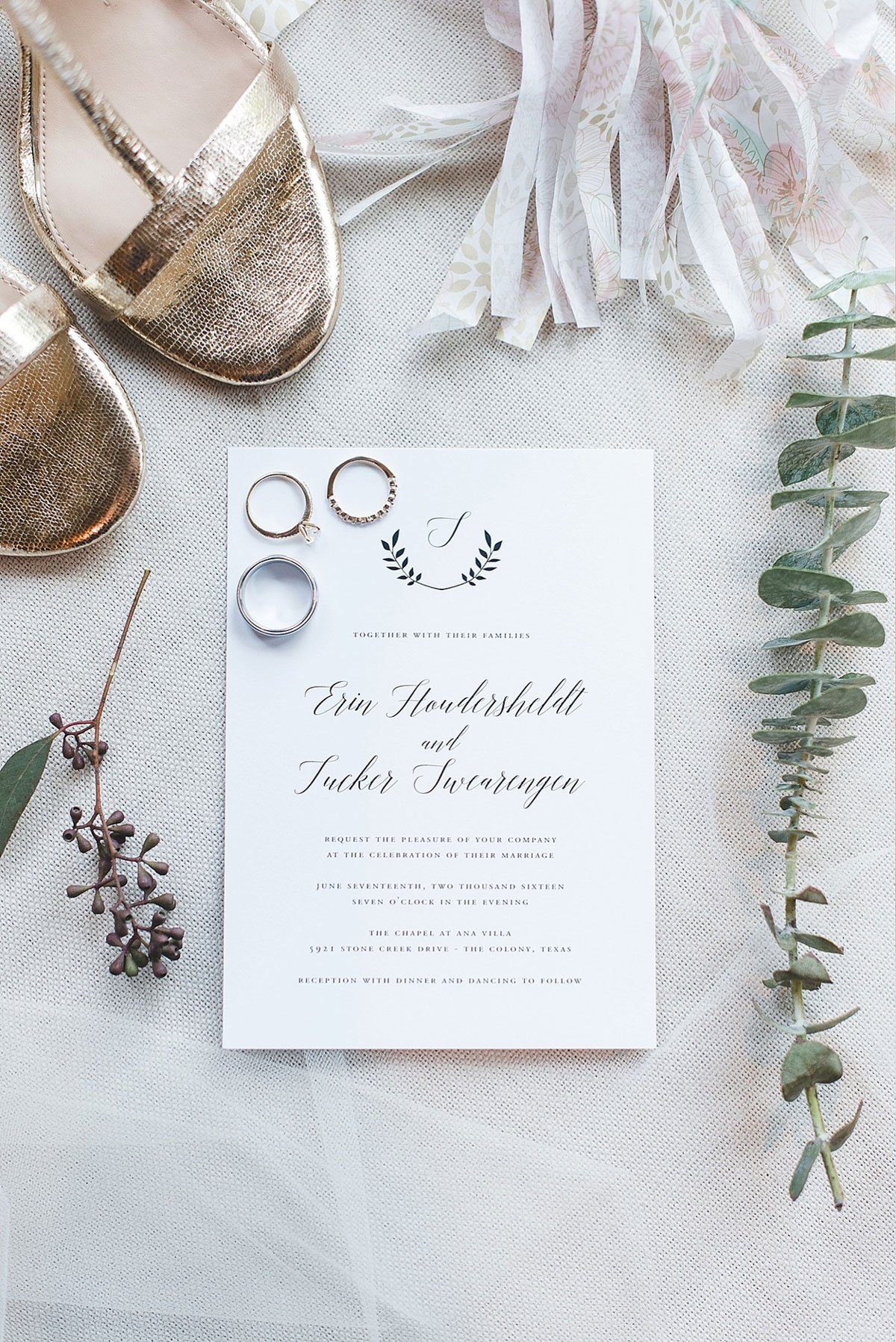 Calligraphy Wedding Invitations with a Monogram
