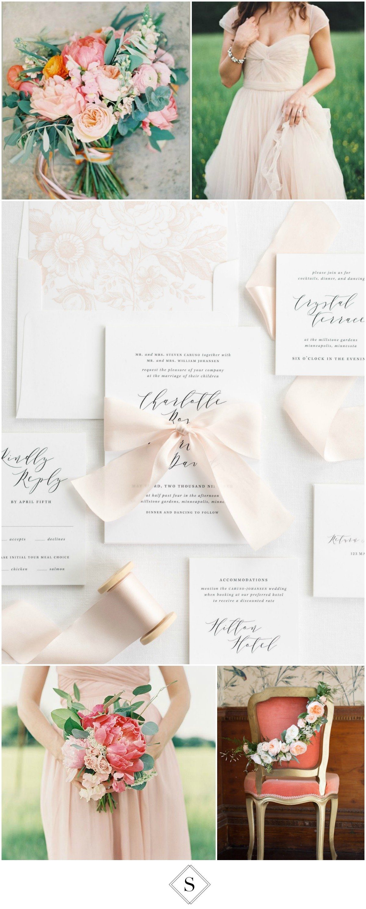 Calligraphy Ribbon Invitations with a floral blush envelope liner