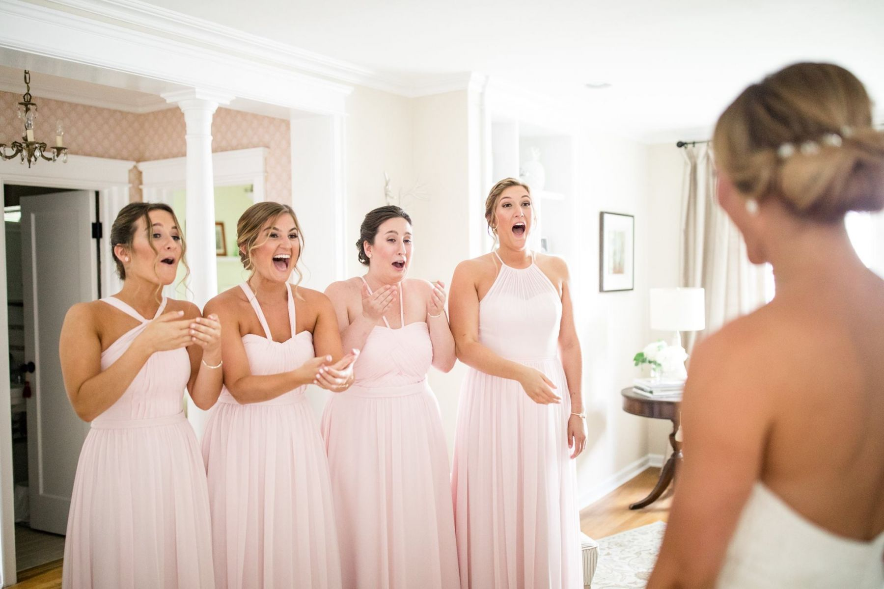 bride reveal to her bridesmaids
