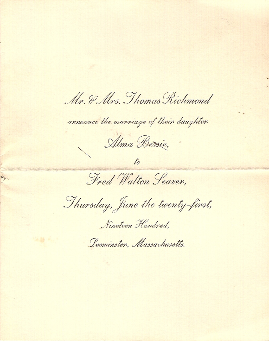 wedding invitation from 1900