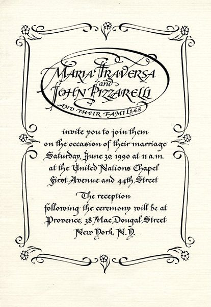 wedding invitation from 1990