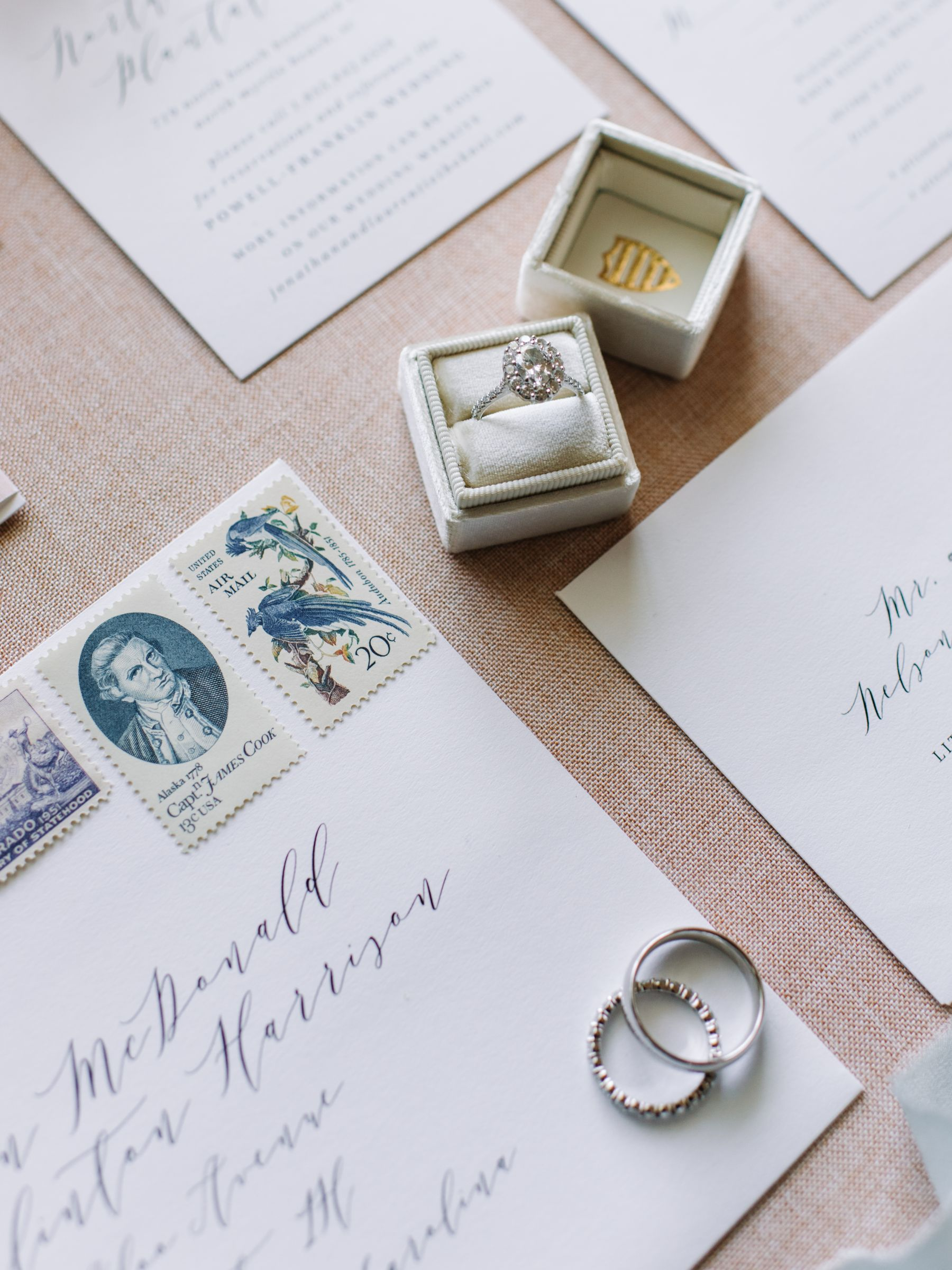 wedding bands on an addressed envelope using modern calligraphy