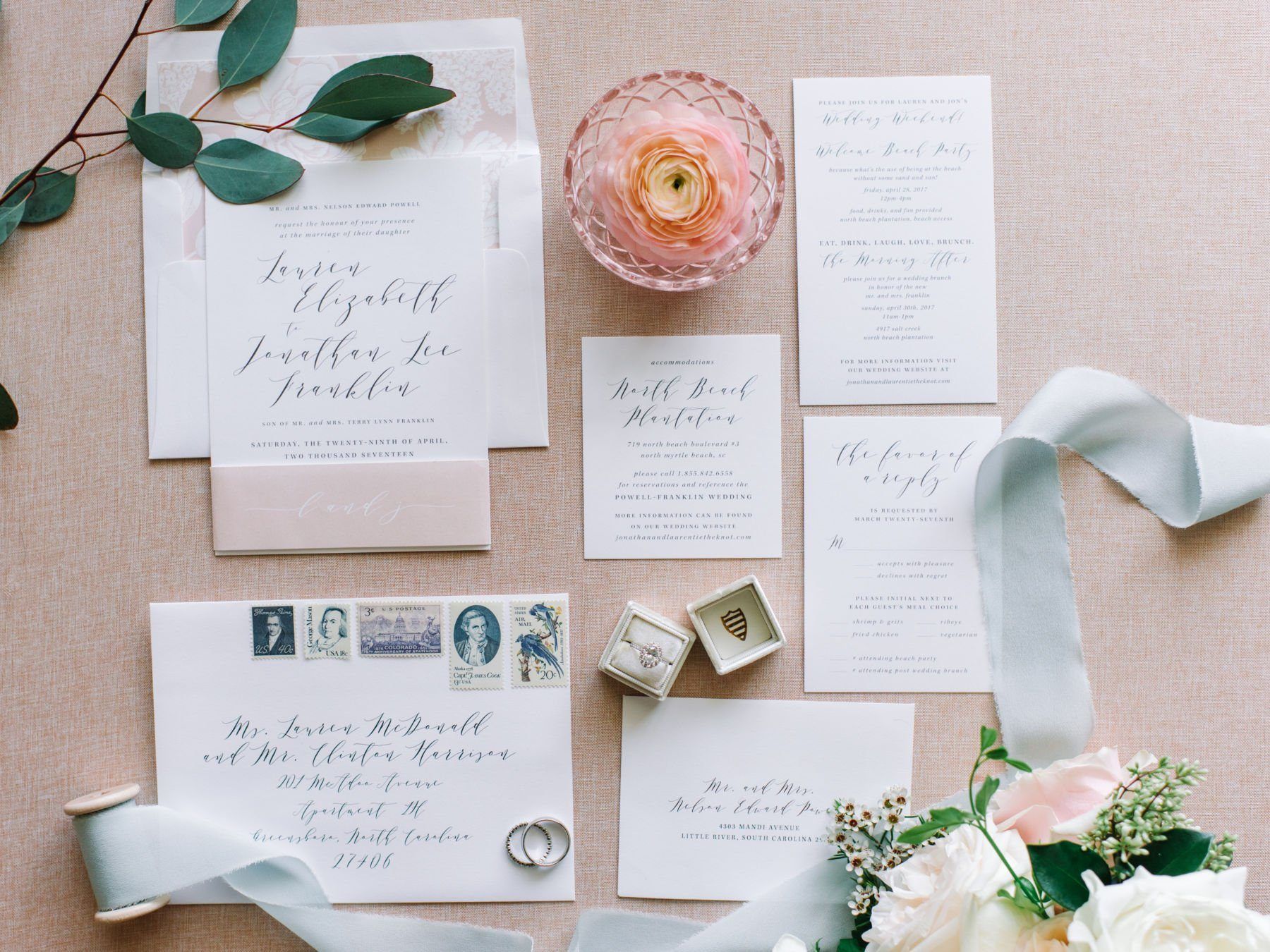 gorgeous modern calligraphy wedding invitation suite