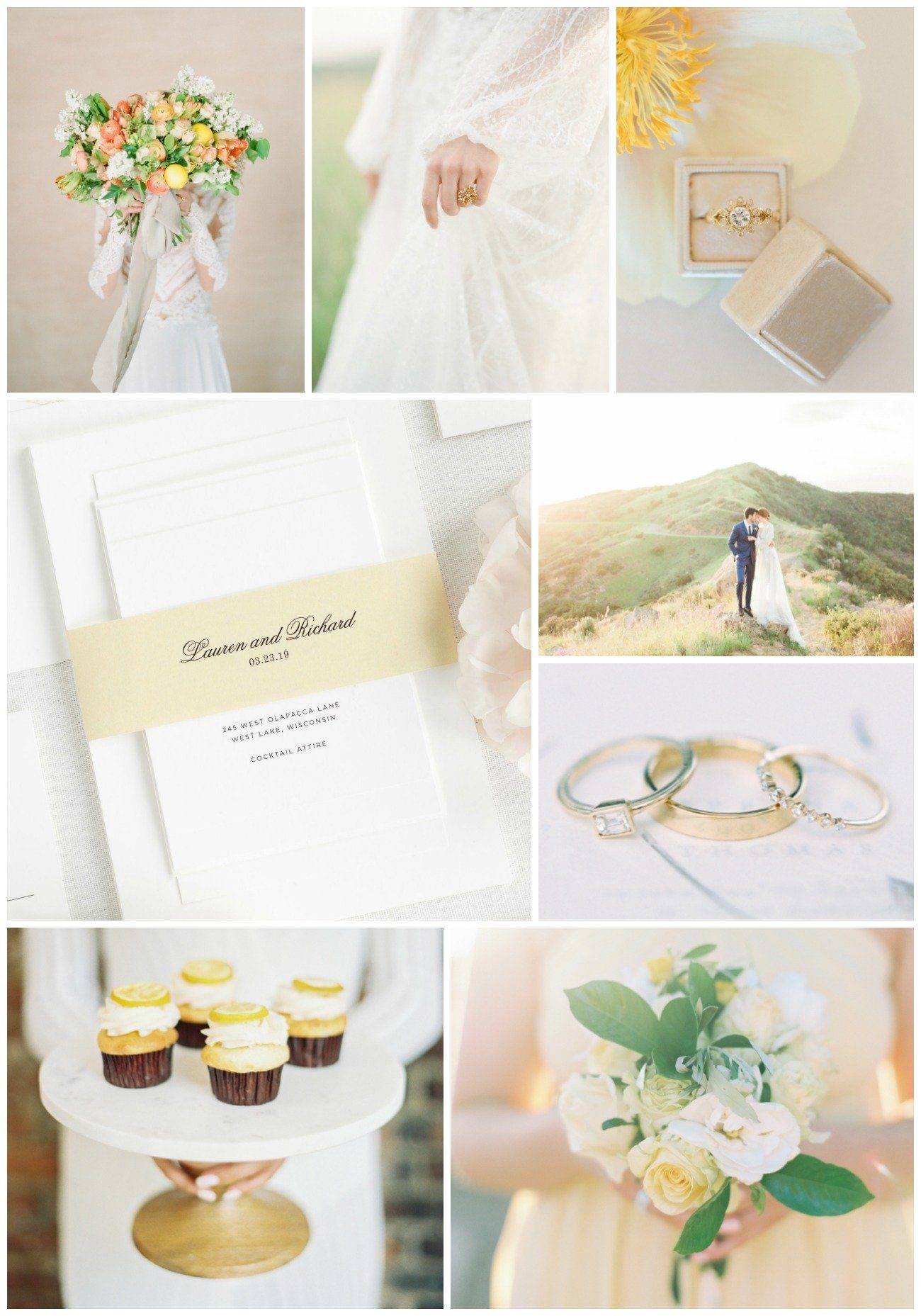 dreamy pale yellow wedding inspiration collage
