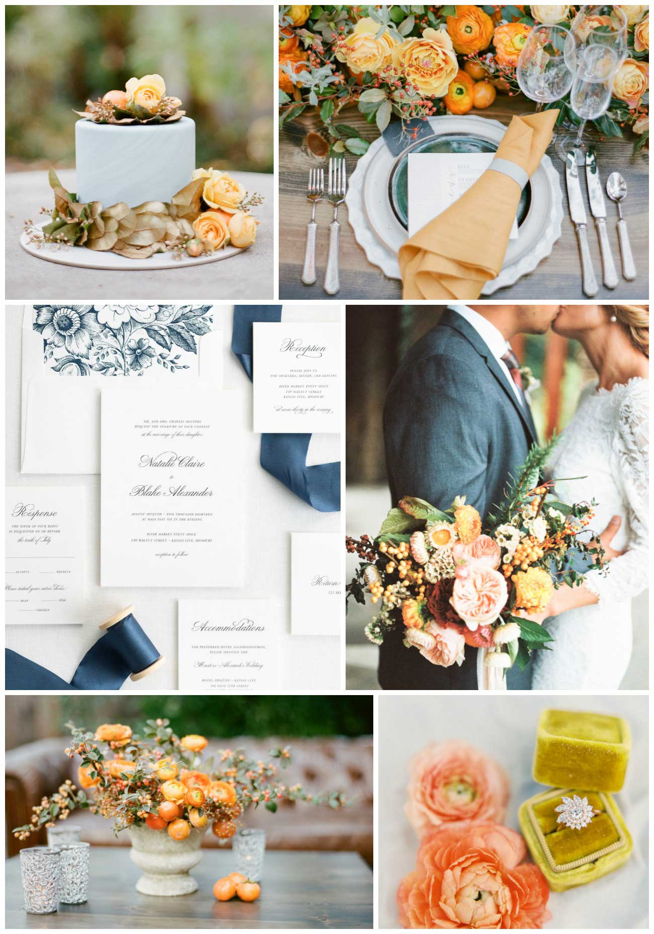 Autumn Orange and Blue Wedding Inspiration