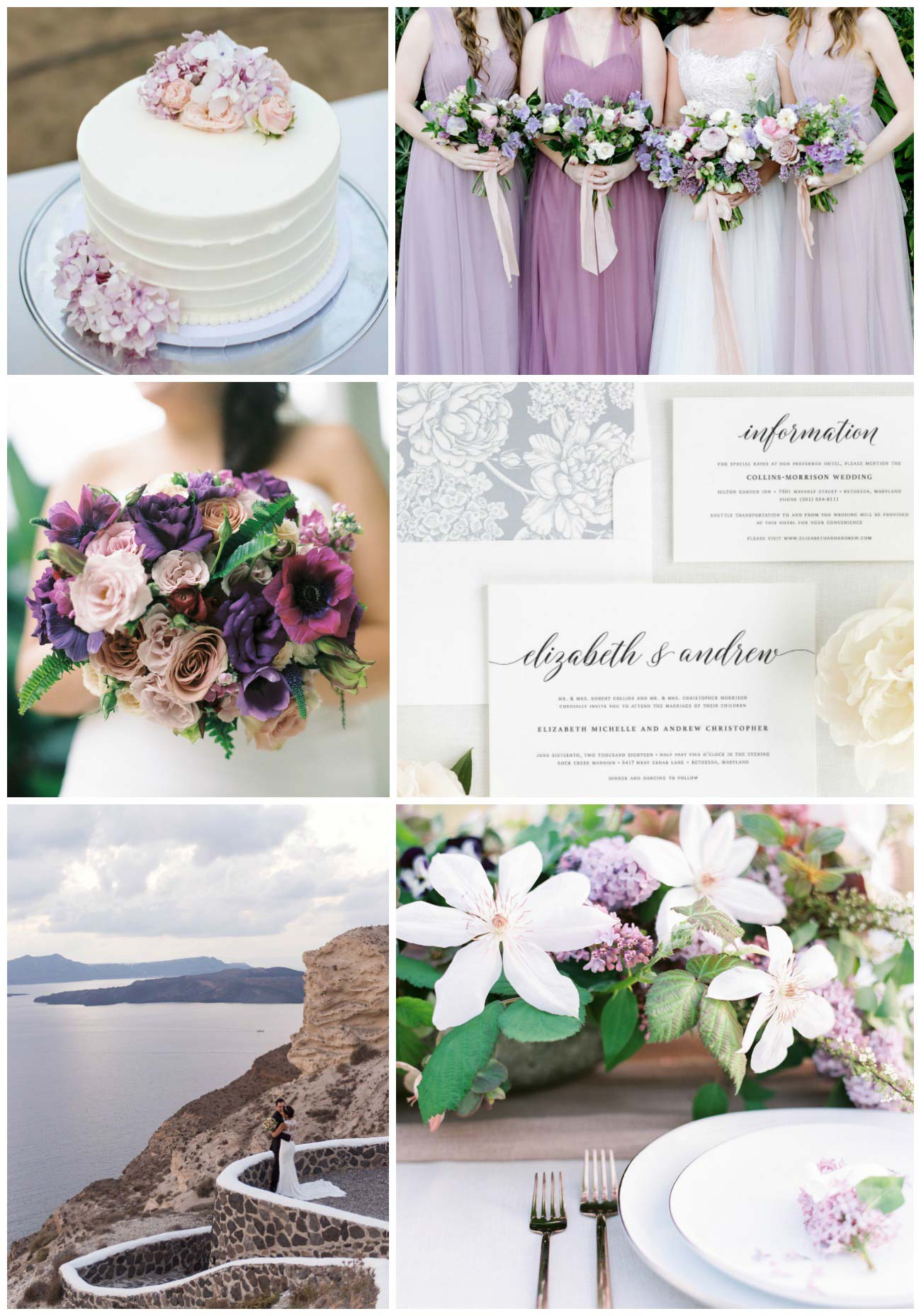 mauve and purple wedding inspiration collage
