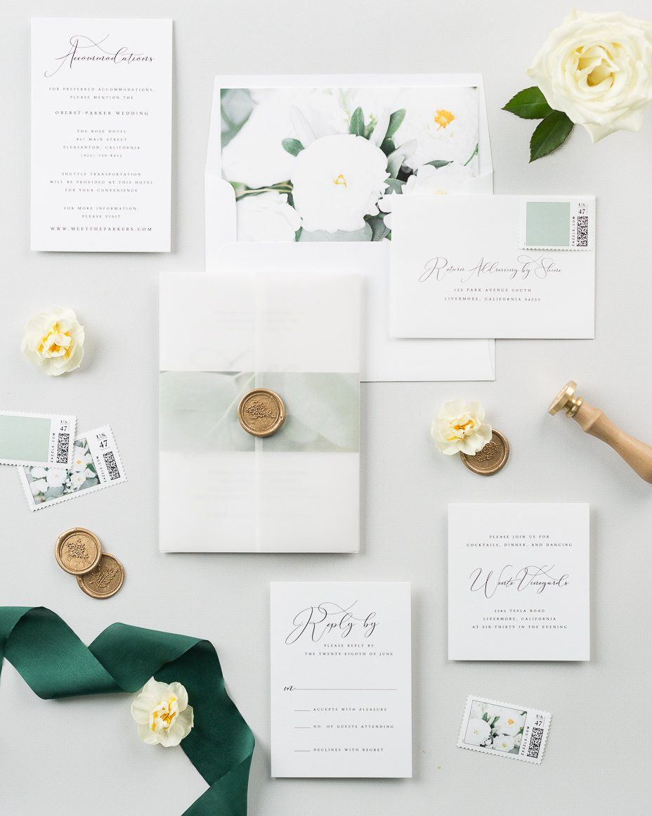 greenery wedding invitations with a floral envelope liner