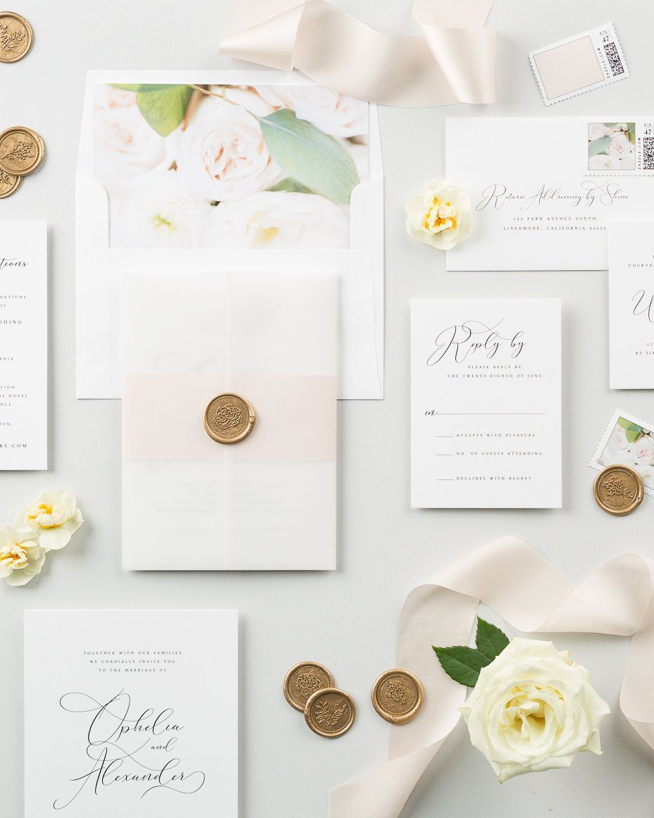 floral wedding invitations with with blush accents