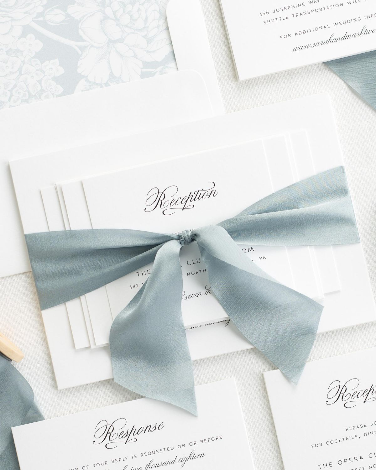 Complete Wedding Invitation Set with Mint Ribbon and Enclosures