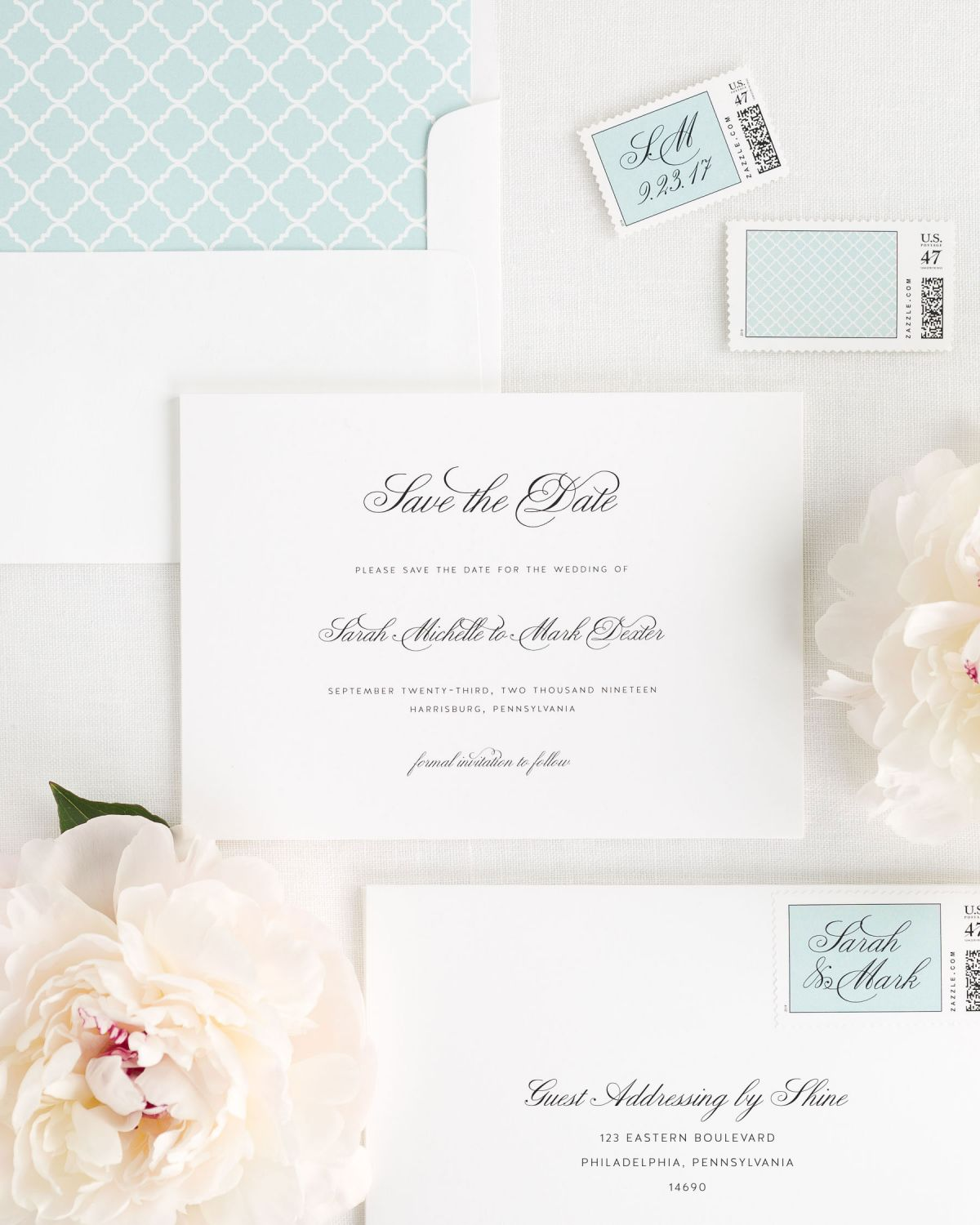 Mint Save the Dates with Custom Stamps