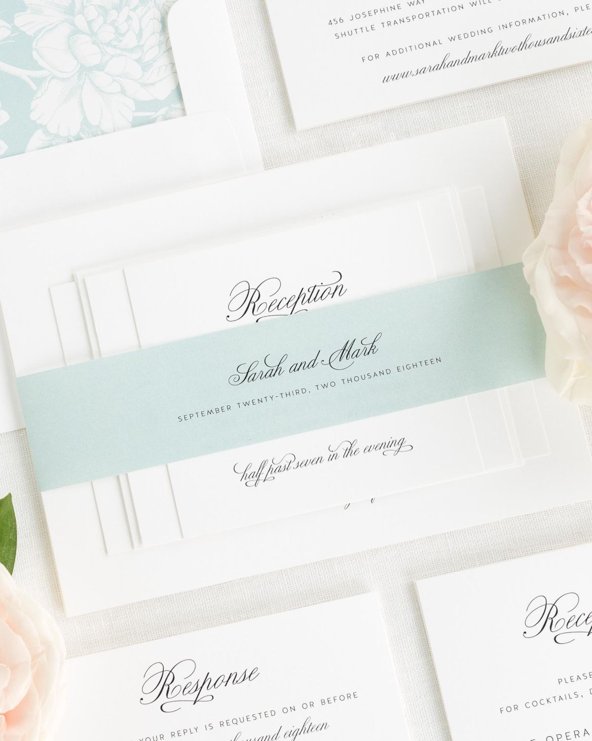 Sage Wedding Invitations with Belly Band and Hydrangea Envelope Liner