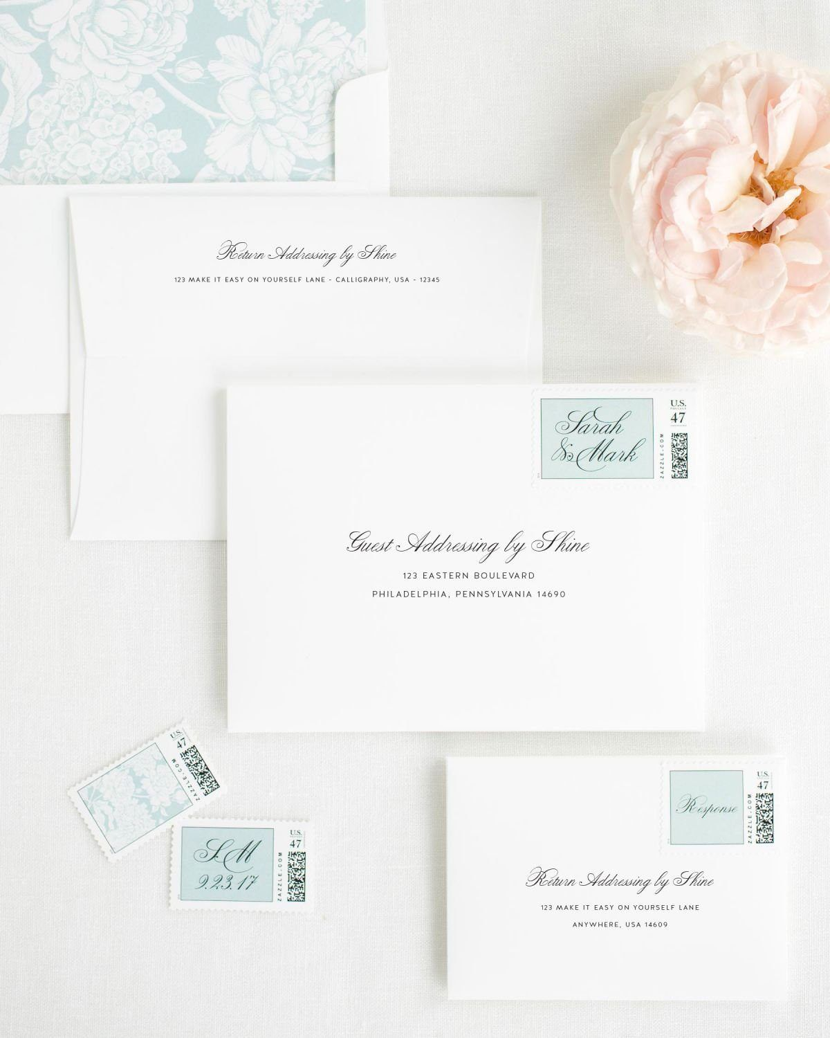 Wedding Invitation Envelopes with Sage Custom Stamps and Hydrangea Liner