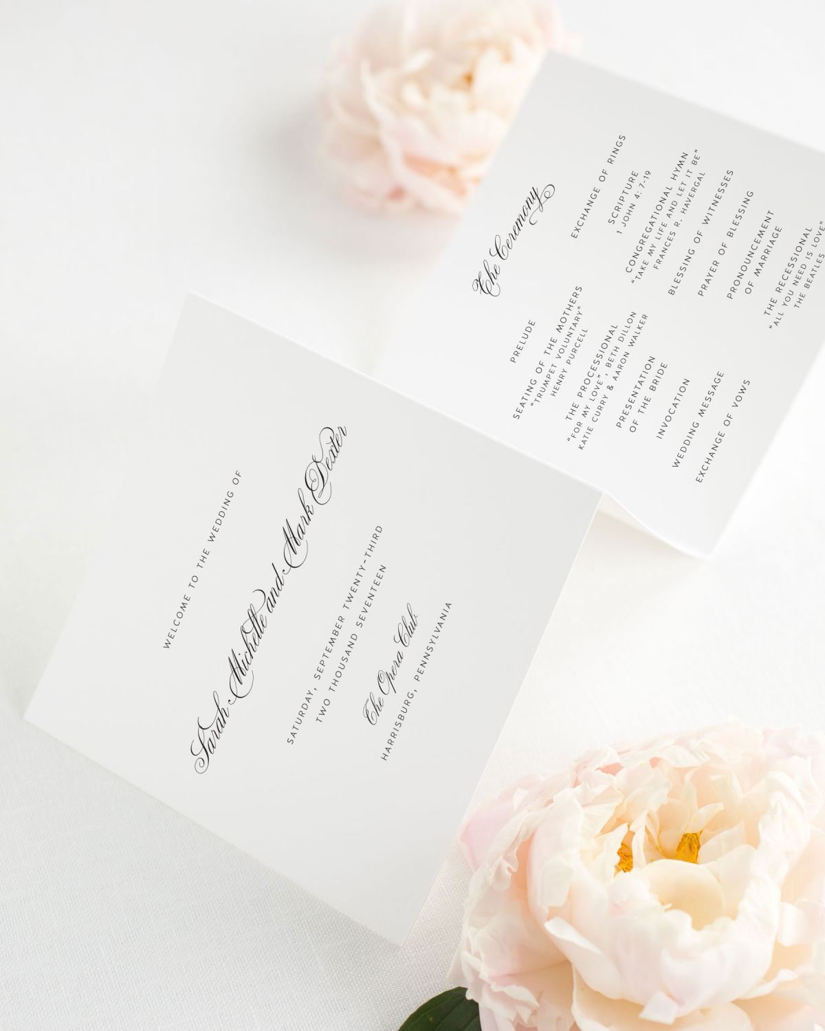 Square Trifold Wedding Program