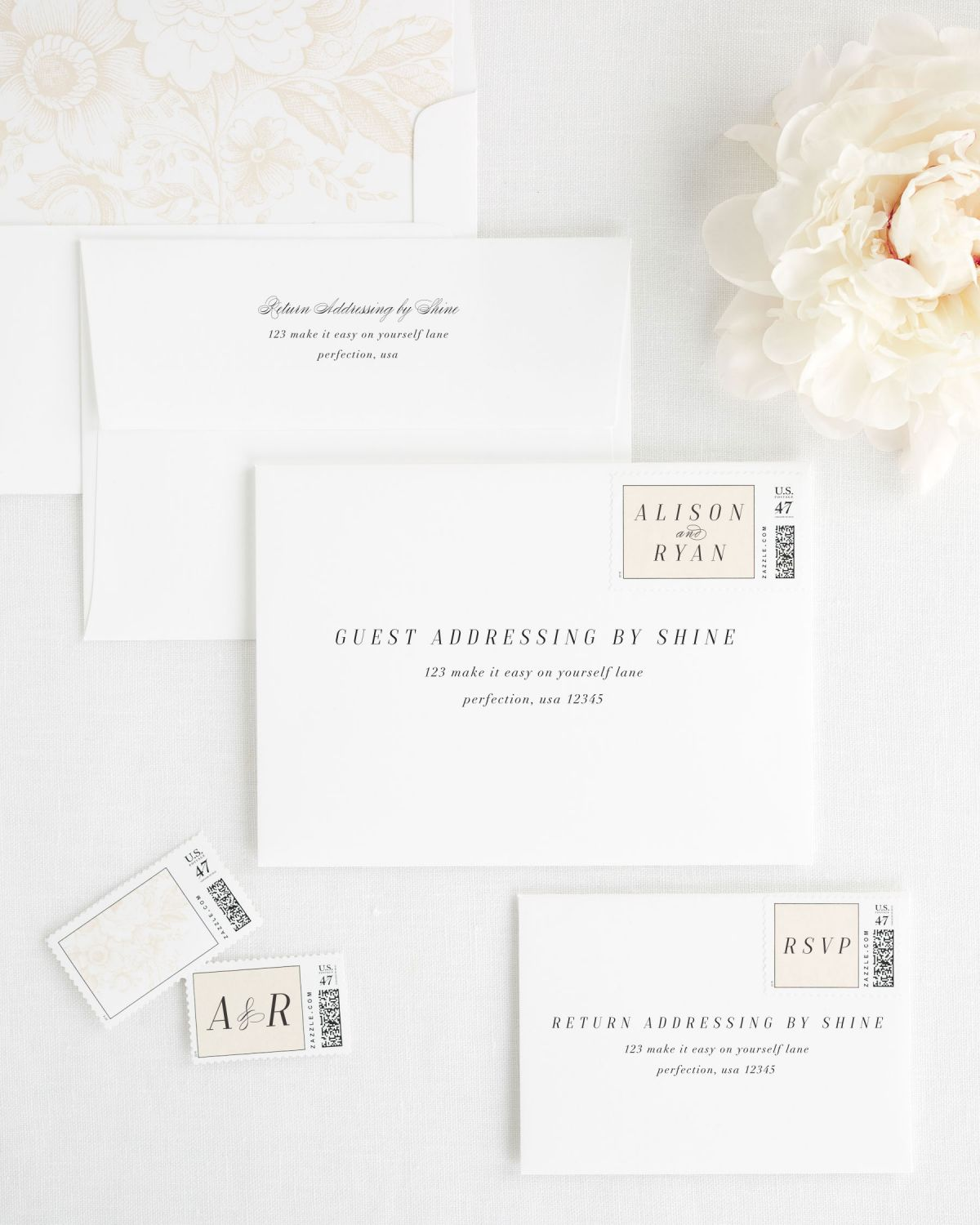 Wedding Invitation envelopes with guest addresing and personalized postage