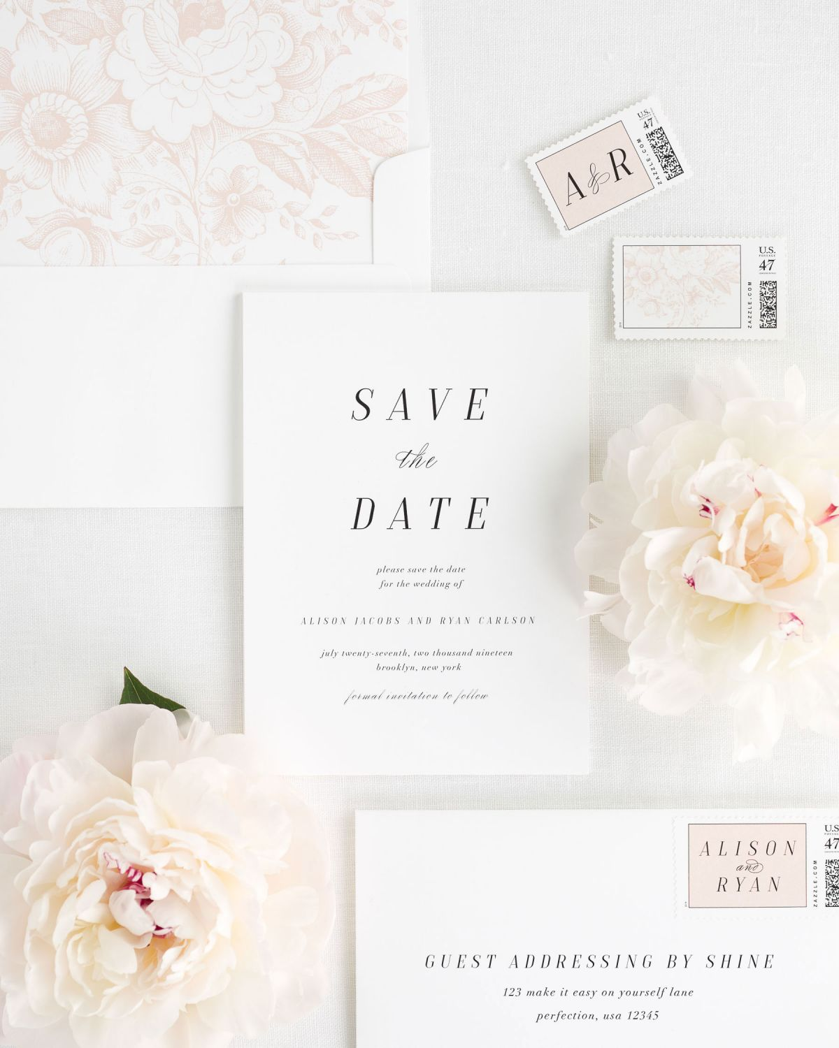 Save the Date with Rose Gold Envelope Liner and Personalized Postage