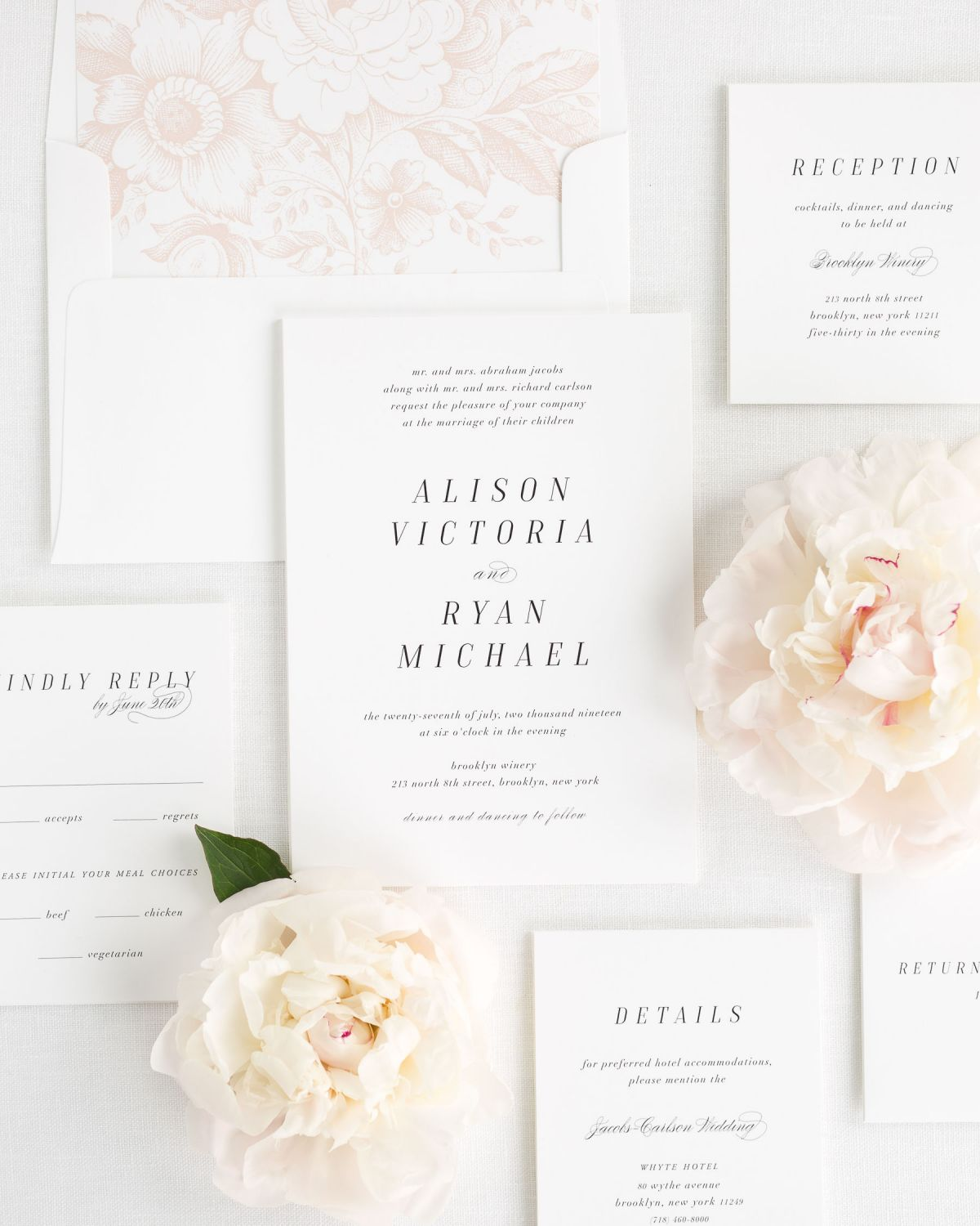 Romantic Wedding Invitations with Silk Ribbon