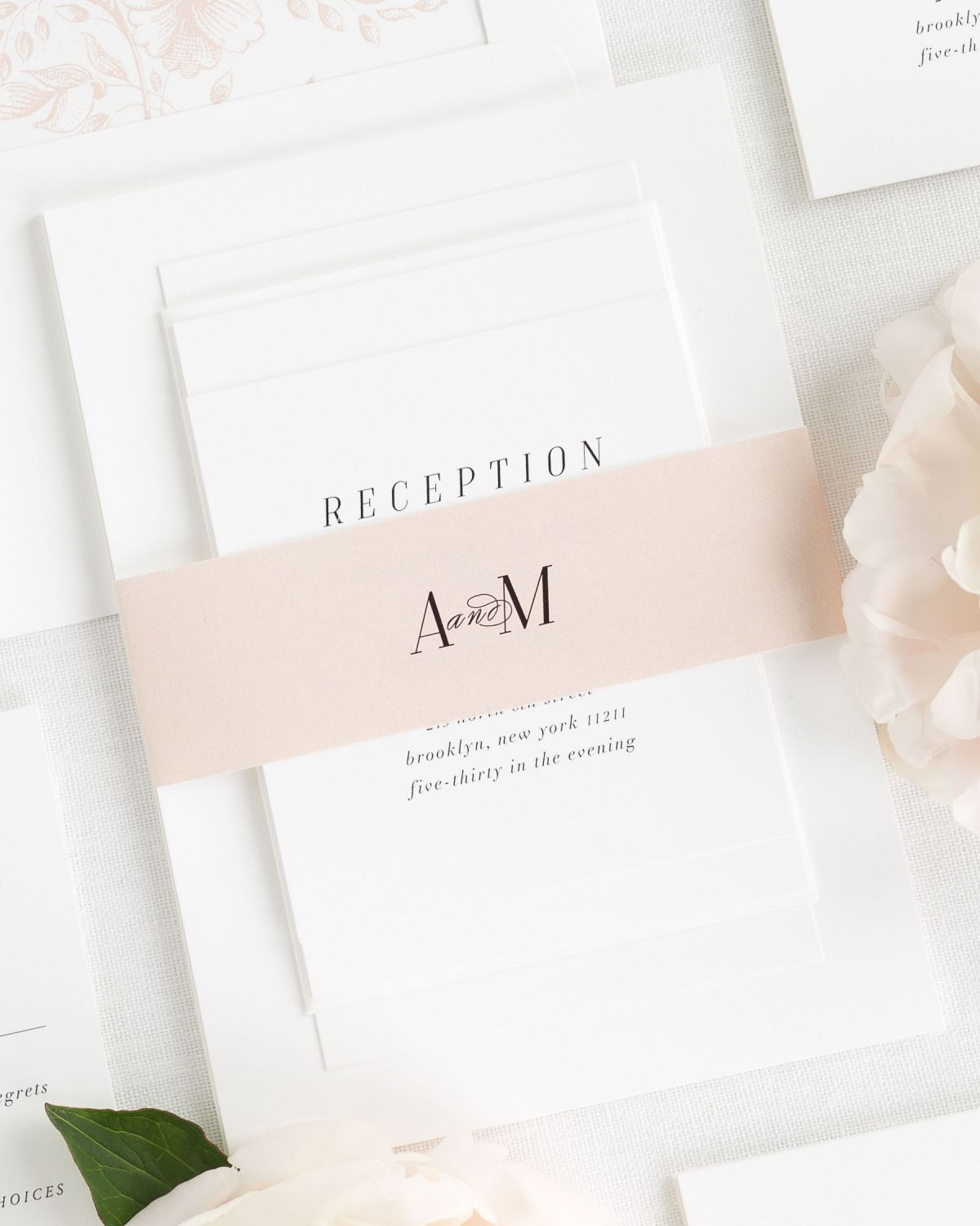 Blush Wedding Invitations with Belly Band and Monogram