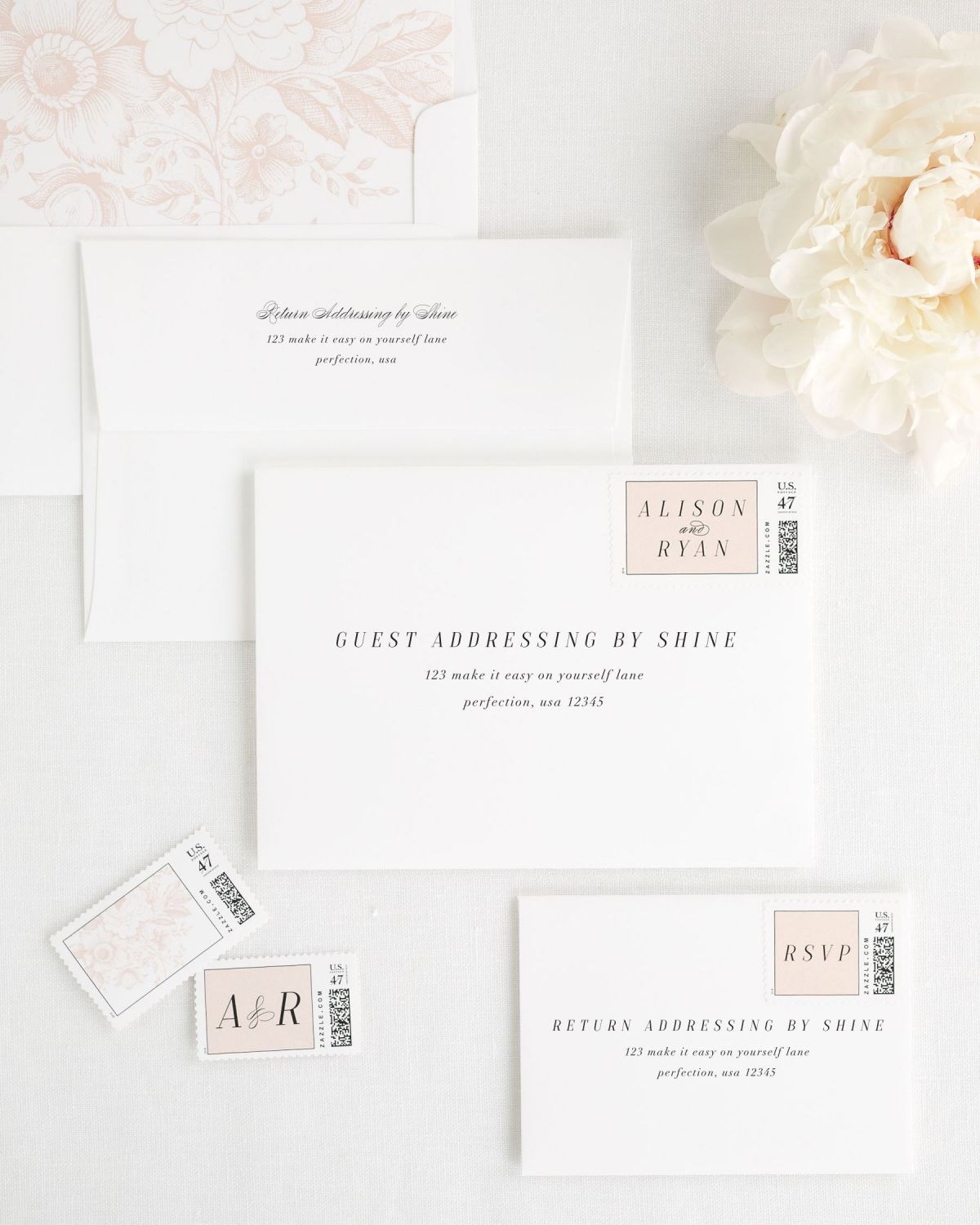 Wedding Invitation Envelopes with Blush Postage Stamps and Address Printing