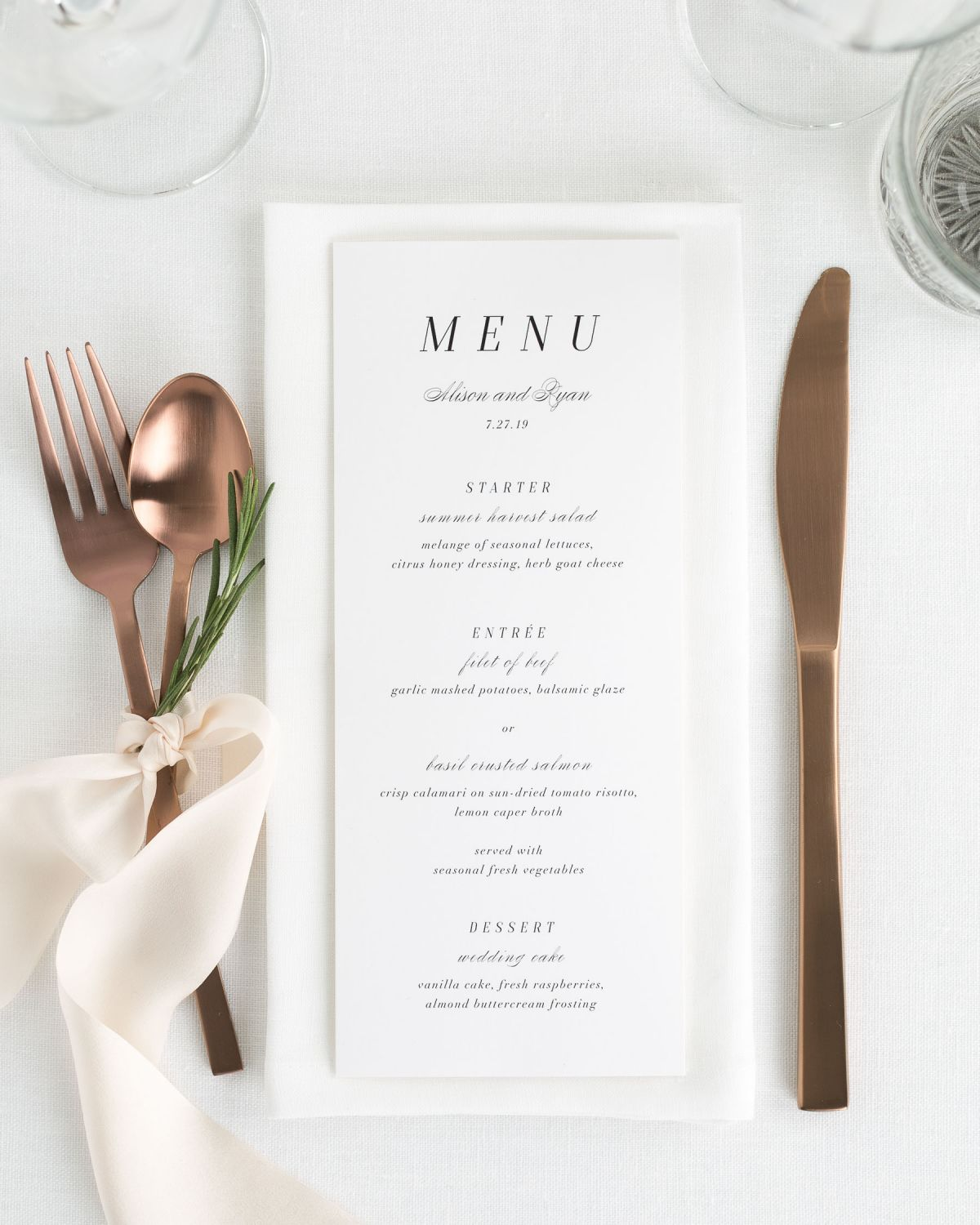 Simple Wedding Menus with Copper flatware