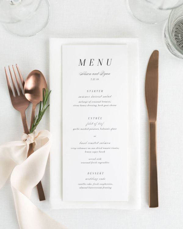 Alison Wedding Menus