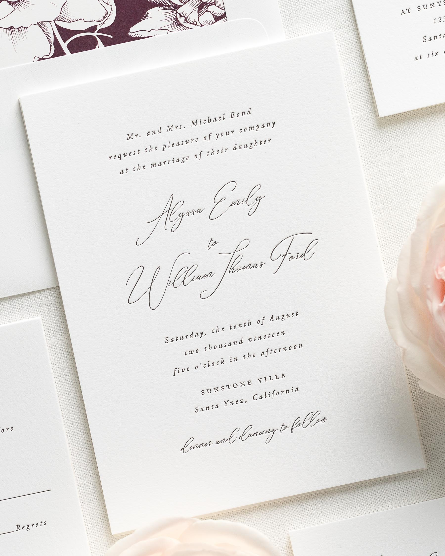 Alyssa Letterpress Wedding Invitations