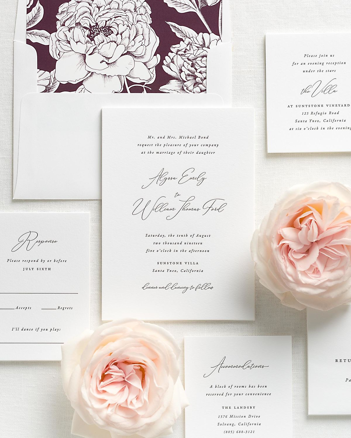 classic calligraphy letterpress wedding invitations with a deep purple envelope liner