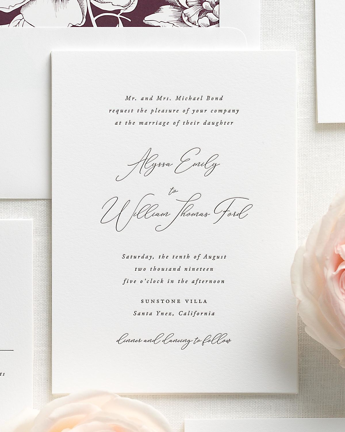 Fig Wedding Invitation Suite with Letterpress Printing
