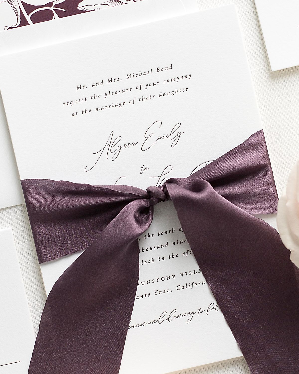 Letterpress Wedding Invitations with purple ribbon