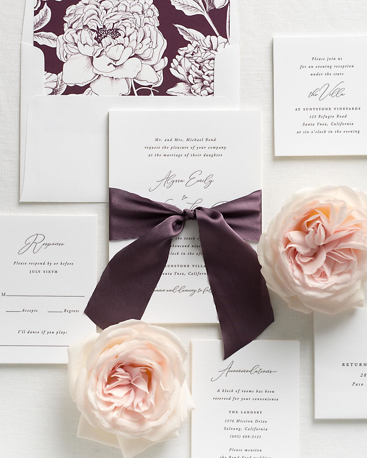 Fig Wedding Invitations with Mulberry Silk Ribbon and Letterpress Printing